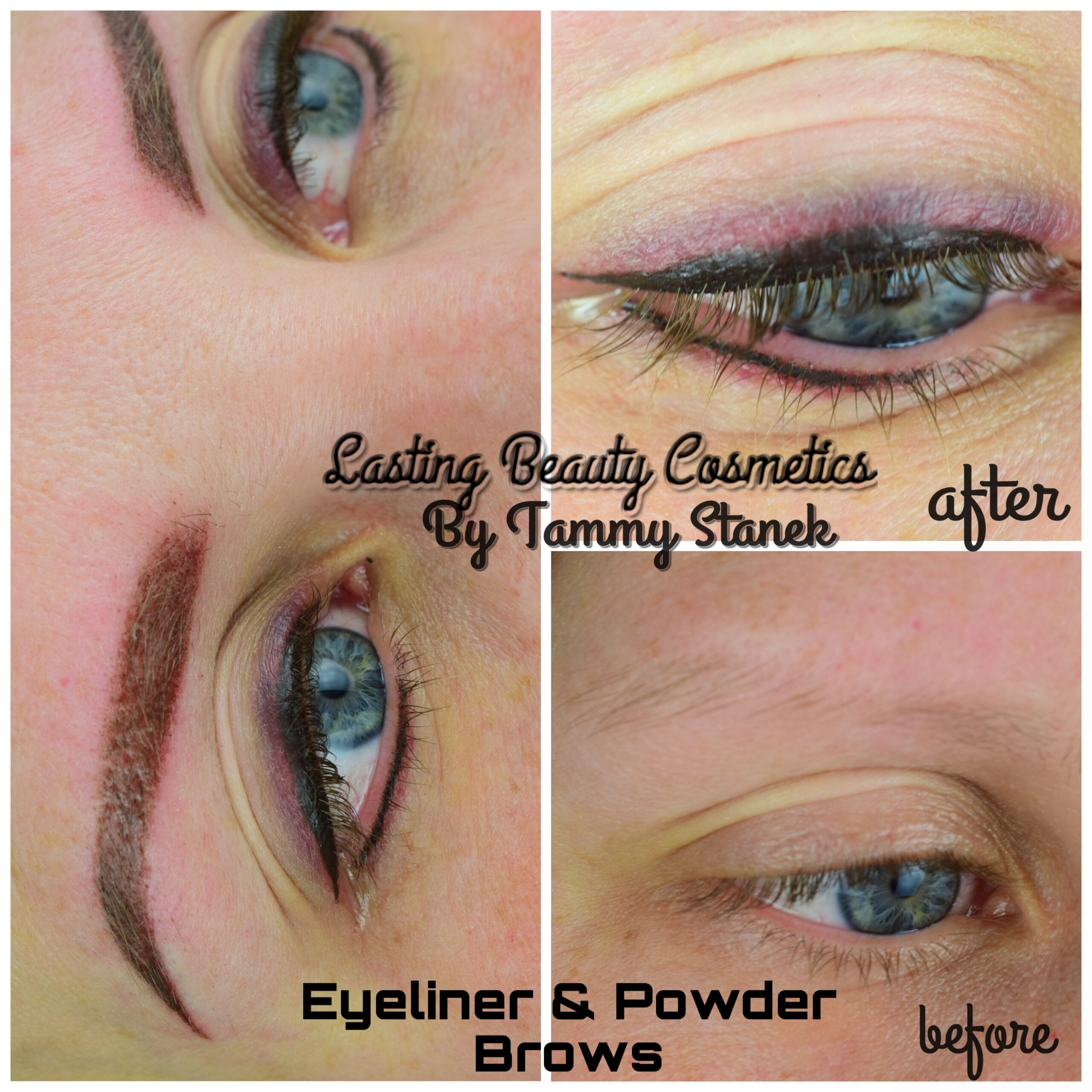 powdered brow and Eyeliner
